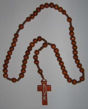 E8118025 BR - Wooden Rosary brown