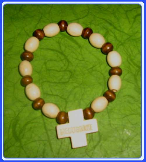 WB001 - Handcrafted Wooden Bracelet – Madonna Peace Chaplet